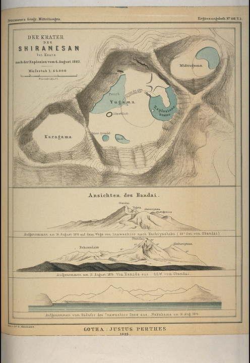 白根山の平面図.1882年8月6日の爆発の後草津のそばの白根山の ...