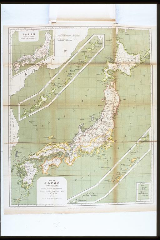 日本<大日本>地図.博士J.ライン教授の時代からと,日本と ...